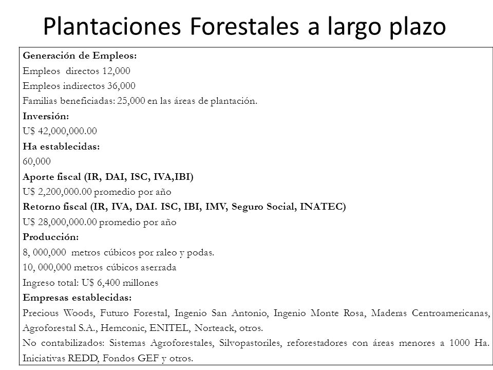 Plantaciones Forestales a largo plazo Generación de Empleos: Empleos directos 12,000 Empleos indirectos 36,000 Familias beneficiadas: 25,000 en las áreas de plantación.