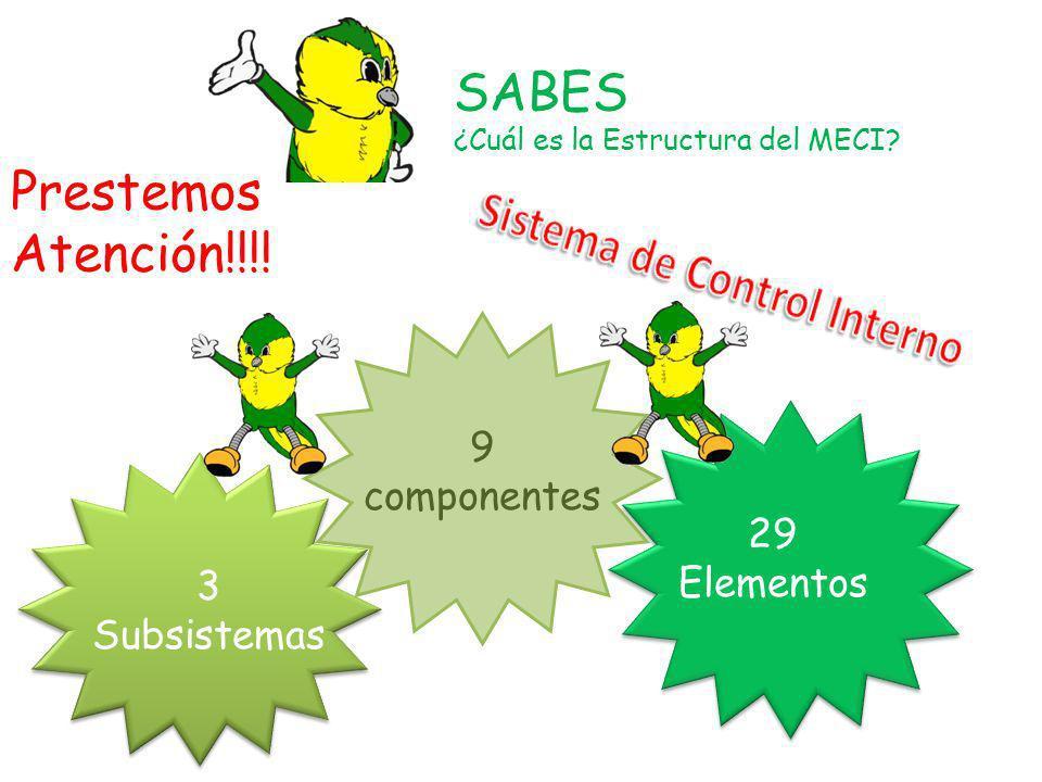 SABES ¿Cuál es la Estructura del MECI? Prestemos Atención!!!! 3 Subsistemas 9 componentes 29 Elementos