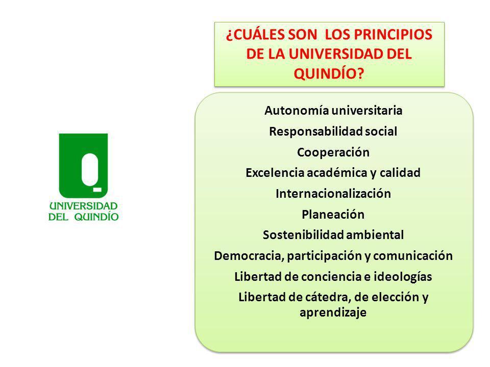 ¿CUÁLES SON LOS PRINCIPIOS DE LA UNIVERSIDAD DEL QUINDÍO? Autonomía universitaria Responsabilidad social Cooperación Excelencia académica y calidad In