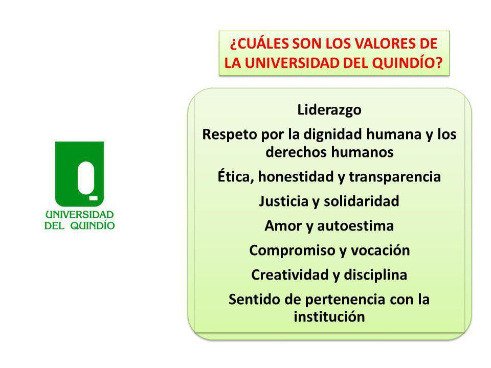 ¿CUÁLES SON LOS VALORES DE LA UNIVERSIDAD DEL QUINDÍO? Liderazgo Respeto por la dignidad humana y los derechos humanos Ética, honestidad y transparenc