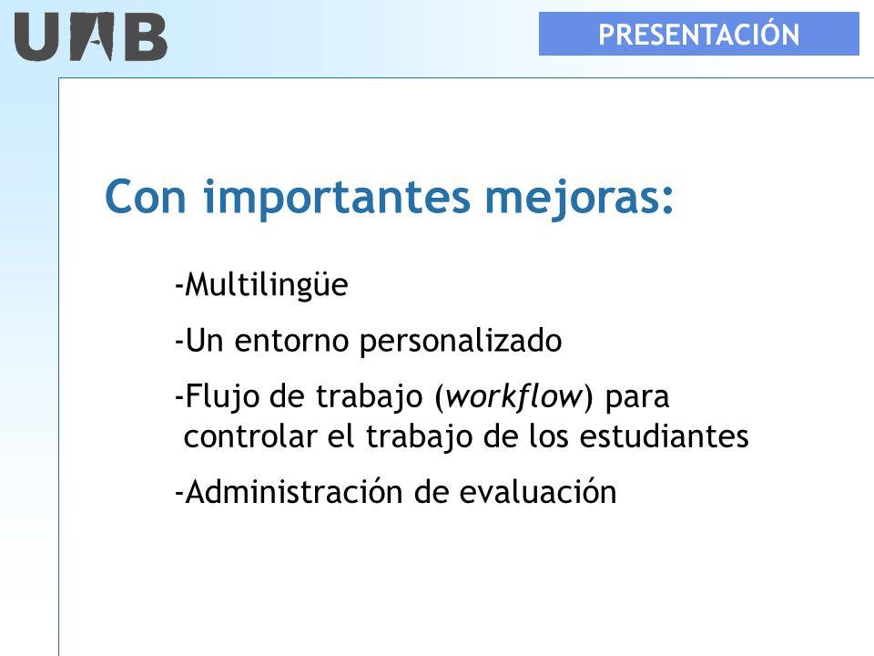 PRESENTACIÓN Con importantes mejoras: -Multilingüe -Un entorno personalizado -Flujo de trabajo (workflow) para controlar el trabajo de los estudiantes