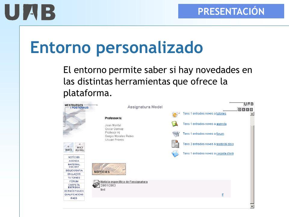 PRESENTACIÓN Entorno personalizado El entorno permite saber si hay novedades en las distintas herramientas que ofrece la plataforma.