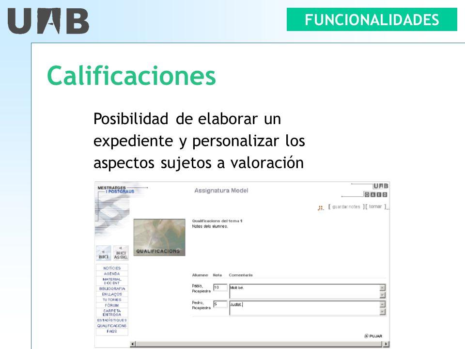 FUNCIONALIDADES Calificaciones Posibilidad de elaborar un expediente y personalizar los aspectos sujetos a valoración