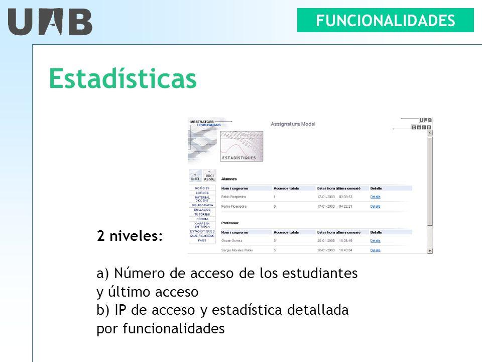 FUNCIONALIDADES Estadísticas 2 niveles: a) Número de acceso de los estudiantes y último acceso b) IP de acceso y estadística detallada por funcionalid