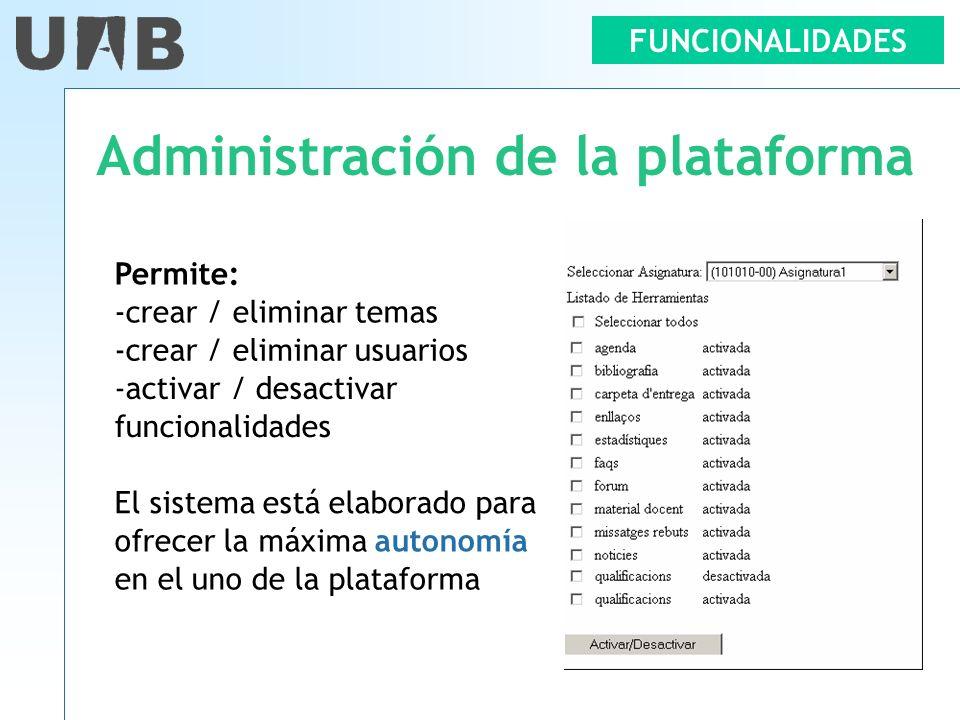 FUNCIONALIDADES Administración de la plataforma Permite: -crear / eliminar temas -crear / eliminar usuarios -activar / desactivar funcionalidades El s