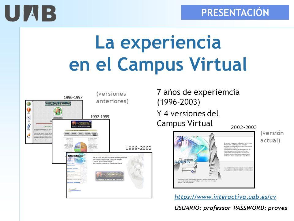 La experiencia en el Campus Virtual 7 años de experiemcia (1996-2003) Y 4 versiones del Campus Virtual 2002-2003 PRESENTACIÓN 1999-2002 https://www.in
