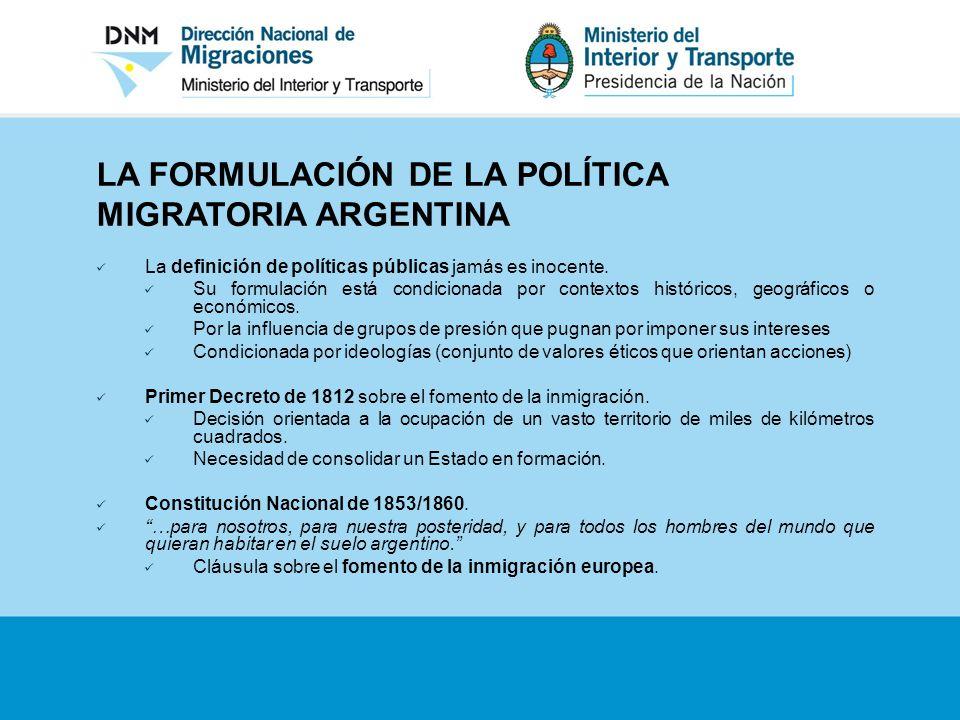 LA FORMULACIÓN DE LA POLÍTICA MIGRATORIA ARGENTINA La definición de políticas públicas jamás es inocente. Su formulación está condicionada por context