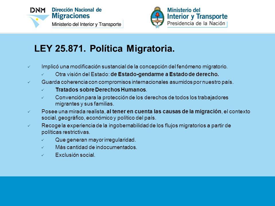 LEY 25.871. Política Migratoria. Implicó una modificación sustancial de la concepción del fenómeno migratorio. Otra visión del Estado: de Estado-genda