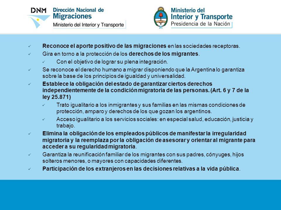 Reconoce el aporte positivo de las migraciones en las sociedades receptoras. Gira en torno a la protección de los derechos de los migrantes. Con el ob