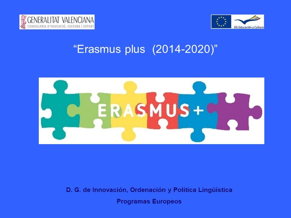 Erasmus plus (2014-2020) D. G. de Innovación, Ordenación y Política Lingüística Programas Europeos