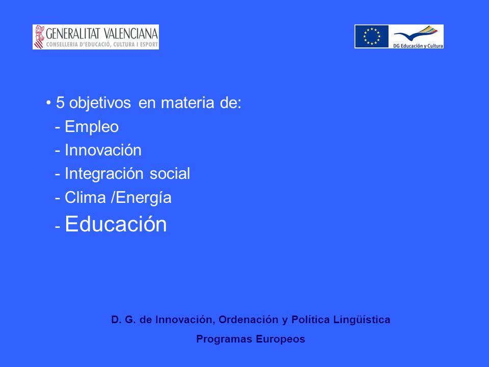 5 objetivos en materia de: - Empleo - Innovación - Integración social - Clima /Energía - Educación D.