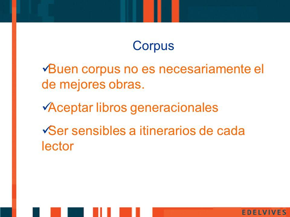 Corpus Buen corpus no es necesariamente el de mejores obras. Aceptar libros generacionales Ser sensibles a itinerarios de cada lector
