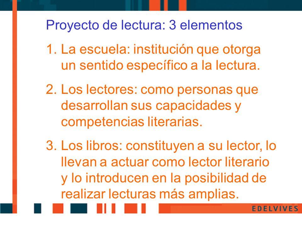 Proyecto de lectura: 3 elementos 1.La escuela: institución que otorga un sentido específico a la lectura. 2.Los lectores: como personas que desarrolla