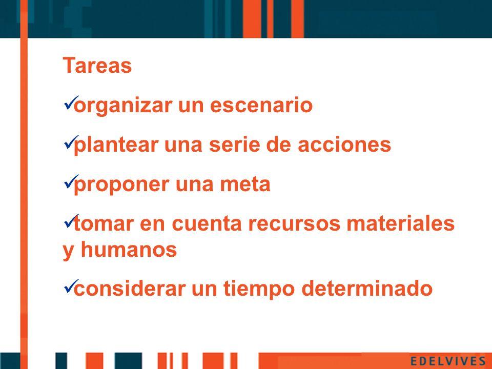 Pp Tareas organizar un escenario plantear una serie de acciones proponer una meta tomar en cuenta recursos materiales y humanos considerar un tiempo d
