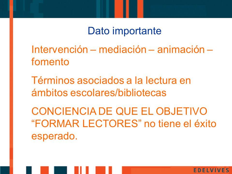 Dato importante Intervención – mediación – animación – fomento Términos asociados a la lectura en ámbitos escolares/bibliotecas CONCIENCIA DE QUE EL O