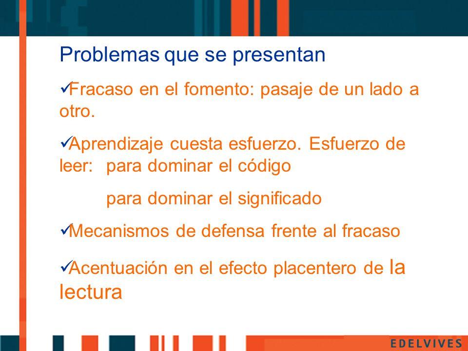 Problemas que se presentan Fracaso en el fomento: pasaje de un lado a otro. Aprendizaje cuesta esfuerzo. Esfuerzo de leer: para dominar el código para