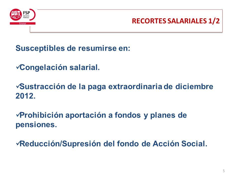 RECORTES SALARIALES 1/2 5 Susceptibles de resumirse en: Congelación salarial.