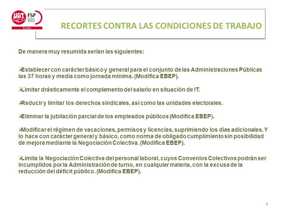 RECORTES CONTRA LAS CONDICIONES DE TRABAJO 9 De manera muy resumida serían las siguientes: Establecer con carácter básico y general para el conjunto de las Administraciones Públicas las 37 horas y media como jornada mínima.