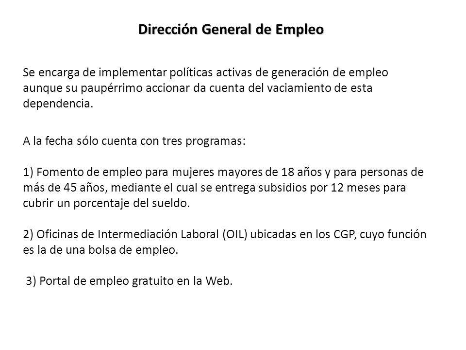 Dirección General de Empleo Se encarga de implementar políticas activas de generación de empleo aunque su paupérrimo accionar da cuenta del vaciamiento de esta dependencia.
