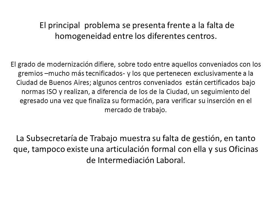 El principal problema se presenta frente a la falta de homogeneidad entre los diferentes centros.