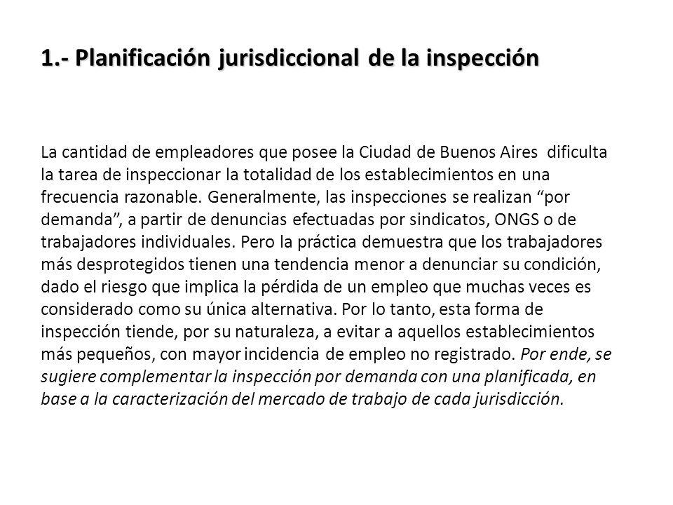 1.- Planificación jurisdiccional de la inspección 1.- Planificación jurisdiccional de la inspección La cantidad de empleadores que posee la Ciudad de Buenos Aires dificulta la tarea de inspeccionar la totalidad de los establecimientos en una frecuencia razonable.
