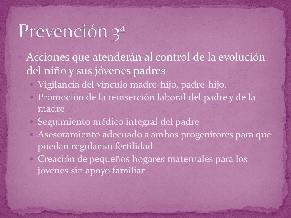 Acciones que atenderán al control de la evolución del niño y sus jóvenes padres Vigilancia del vínculo madre-hijo, padre-hijo. Promoción de la reinser