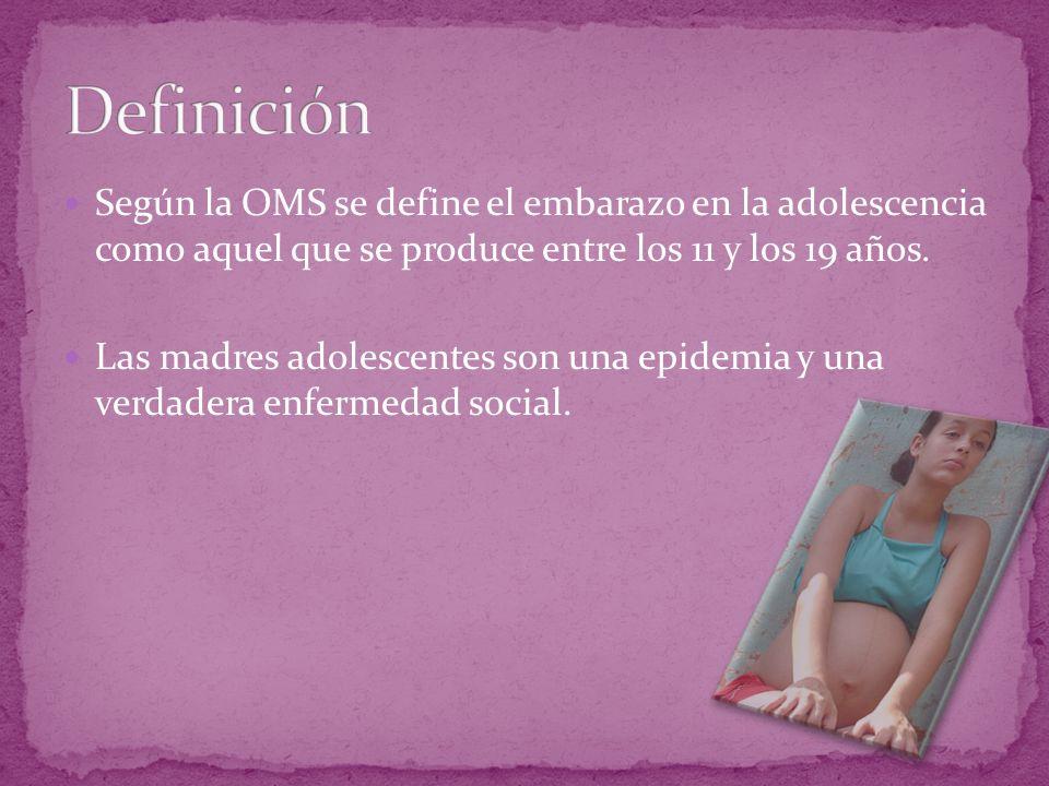 Según la OMS se define el embarazo en la adolescencia como aquel que se produce entre los 11 y los 19 años. Las madres adolescentes son una epidemia y
