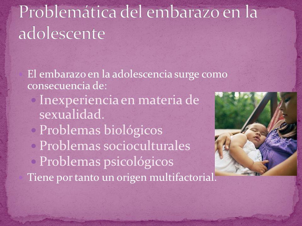 El embarazo en la adolescencia surge como consecuencia de: Inexperiencia en materia de sexualidad. Problemas biológicos Problemas socioculturales Prob