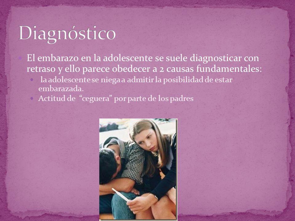 El embarazo en la adolescente se suele diagnosticar con retraso y ello parece obedecer a 2 causas fundamentales: la adolescente se niega a admitir la