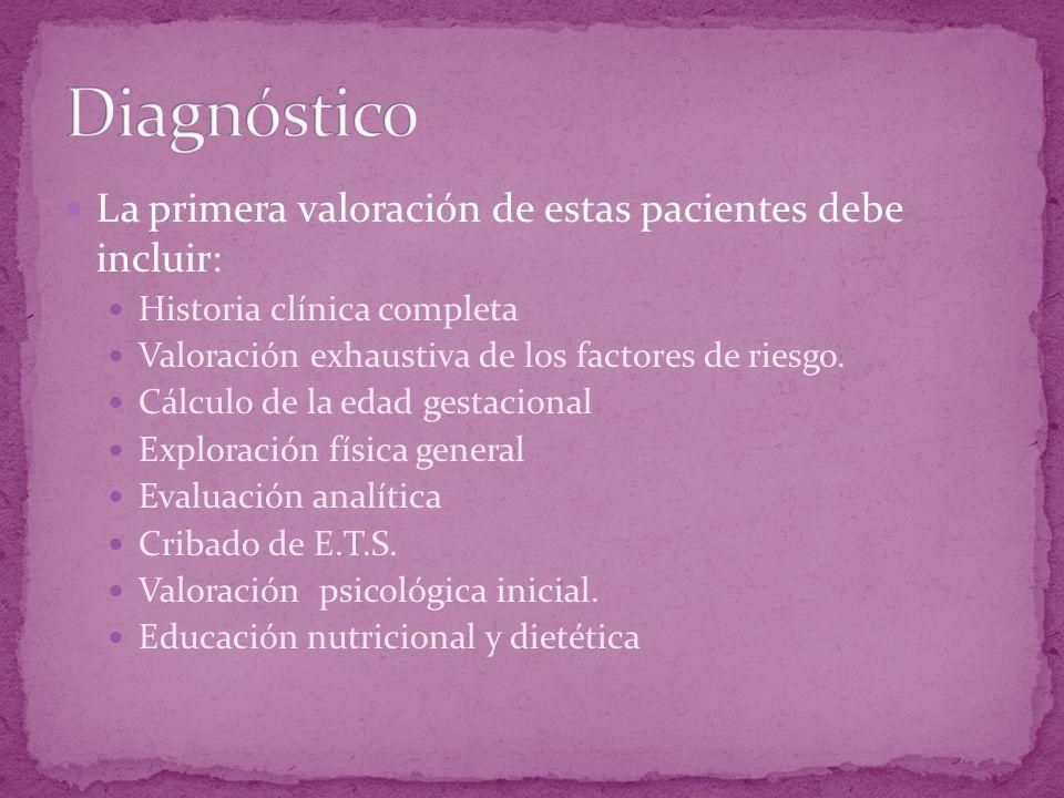 La primera valoración de estas pacientes debe incluir: Historia clínica completa Valoración exhaustiva de los factores de riesgo. Cálculo de la edad g