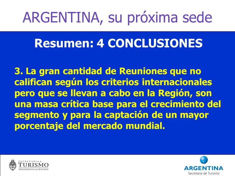 ARGENTINA, su próxima sede Resumen: 4 CONCLUSIONES 3.