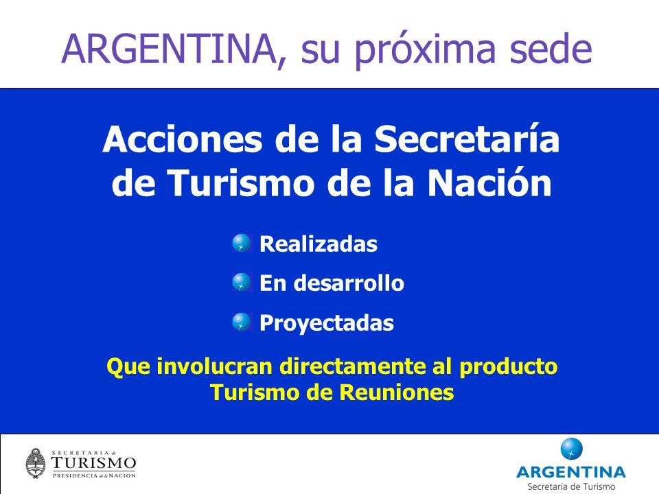 ARGENTINA, su próxima sede Acciones de la Secretaría de Turismo de la Nación Que involucran directamente al producto Turismo de Reuniones Realizadas En desarrollo Proyectadas