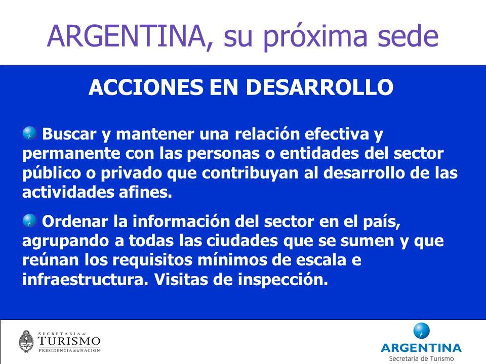 ARGENTINA, su próxima sede ACCIONES EN DESARROLLO Buscar y mantener una relación efectiva y permanente con las personas o entidades del sector público o privado que contribuyan al desarrollo de las actividades afines.