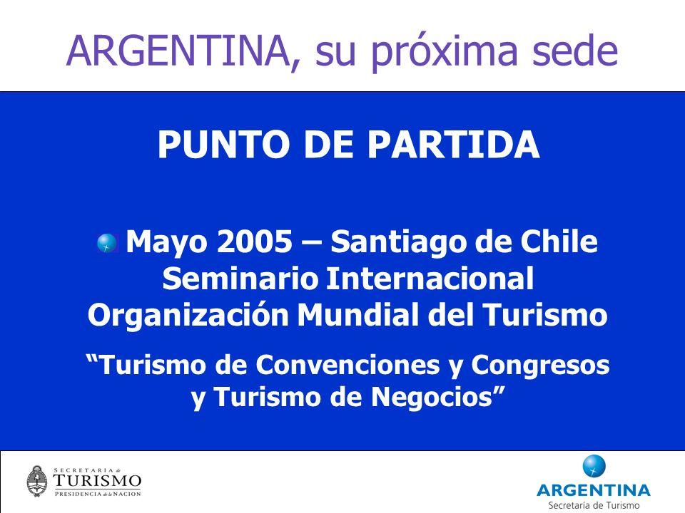 ARGENTINA, su próxima sede Mayo 2005 – Santiago de Chile Seminario Internacional Organización Mundial del Turismo Turismo de Convenciones y Congresos y Turismo de Negocios PUNTO DE PARTIDA