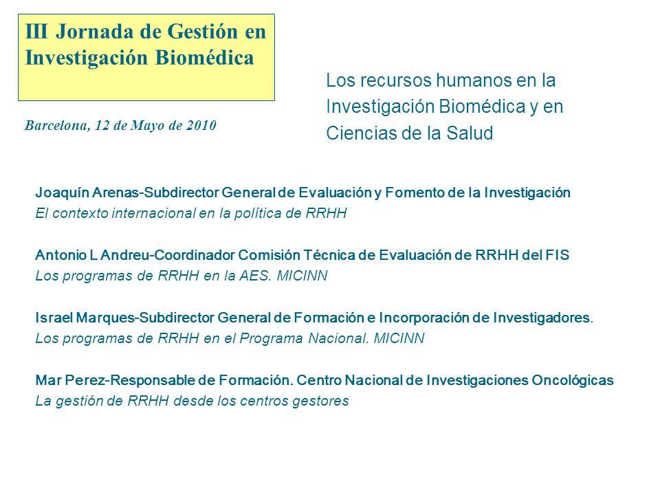 Instituto de Salud Carlos III 1 III Jornada de Gestión en Investigación Biomédica Barcelona, 12 de Mayo de 2010 Los recursos humanos en la Investigación Biomédica y en Ciencias de la Salud Antonio L Andreu-Coordinador Comisión Técnica de Evaluación de RRHH del FIS Los programas de RRHH en la AES.