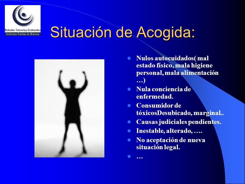 Situación de Acogida: Nulos autocuidados( mal estado físico, mala higiene personal, mala alimentación …) Nula conciencia de enfermedad. Consumidor de