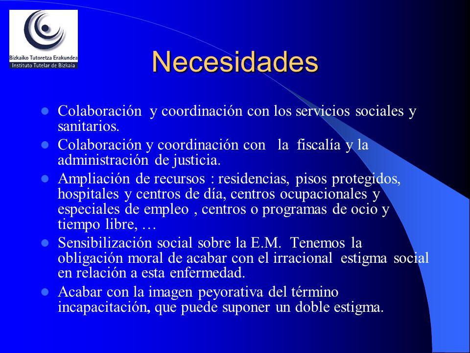 Necesidades Colaboración y coordinación con los servicios sociales y sanitarios. Colaboración y coordinación con la fiscalía y la administración de ju