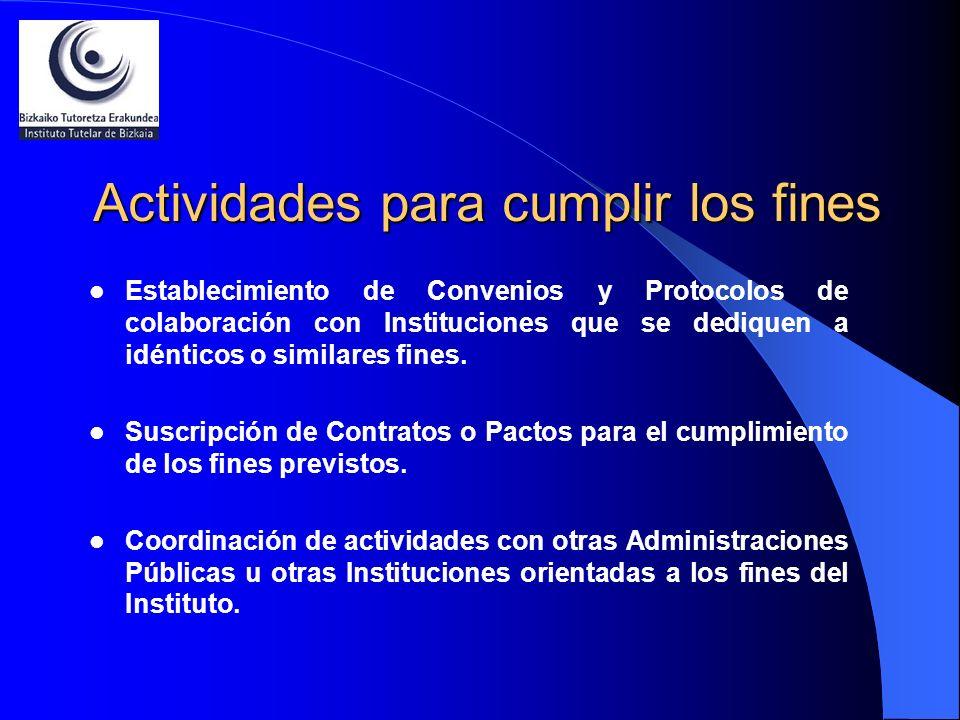 Actividades para cumplir los fines Establecimiento de Convenios y Protocolos de colaboración con Instituciones que se dediquen a idénticos o similares