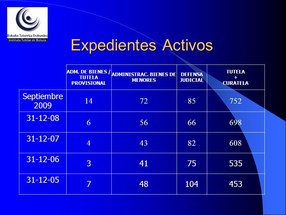 Expedientes Activos ADM. DE BIENES / TUTELA PROVISIONAL ADMINISTRAC. BIENES DE MENORES DEFENSA JUDICIAL TUTELA + CURATELA Septiembre 2009 147285752 31