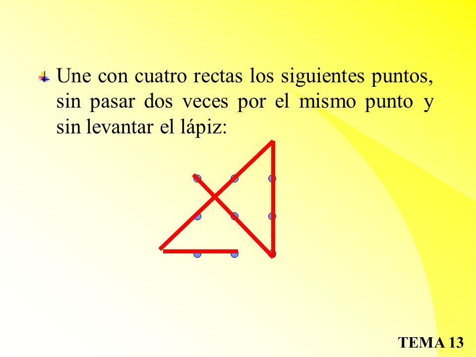 Une con cuatro rectas los siguientes puntos, sin pasar dos veces por el mismo punto y sin levantar el lápiz: