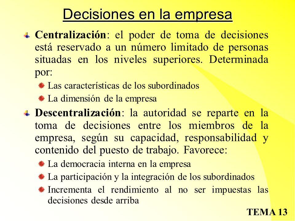 TEMA 13 Decisiones en la empresa Centralización: el poder de toma de decisiones está reservado a un número limitado de personas situadas en los niveles superiores.