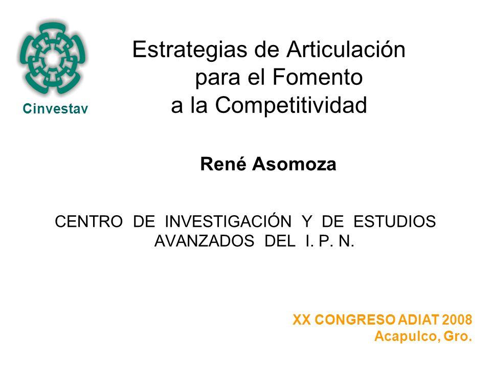 Estrategias de Articulación para el Fomento a la Competitividad René Asomoza CENTRO DE INVESTIGACIÓN Y DE ESTUDIOS AVANZADOS DEL I.
