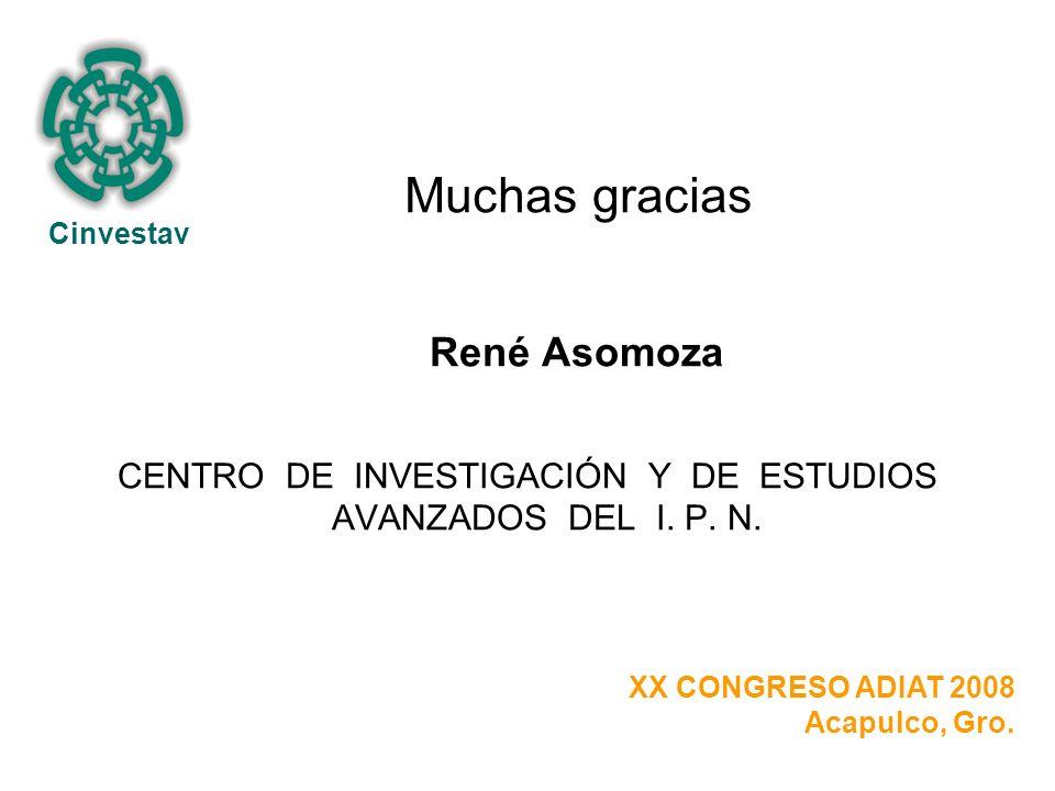 Muchas gracias René Asomoza CENTRO DE INVESTIGACIÓN Y DE ESTUDIOS AVANZADOS DEL I.