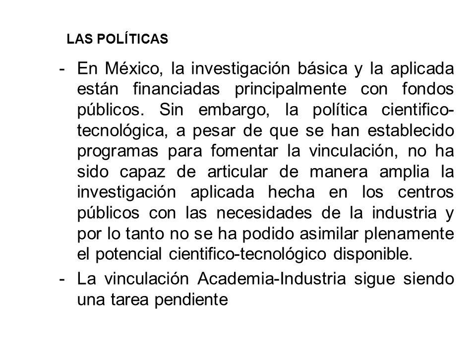 -En México, la investigación básica y la aplicada están financiadas principalmente con fondos públicos.