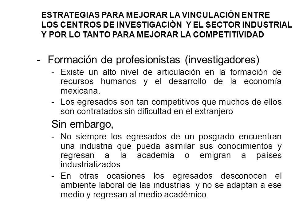 -Formación de profesionistas (investigadores) -Existe un alto nivel de articulación en la formación de recursos humanos y el desarrollo de la economía mexicana.