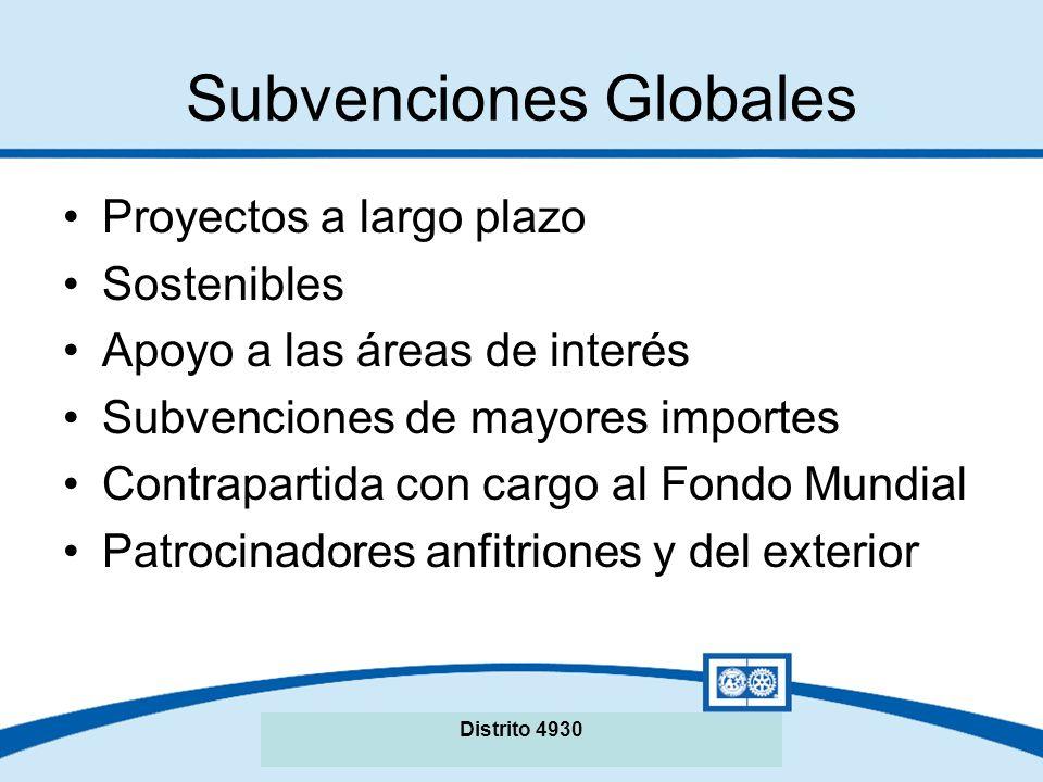 Subvenciones Globales Proyectos a largo plazo Sostenibles Apoyo a las áreas de interés Subvenciones de mayores importes Contrapartida con cargo al Fondo Mundial Patrocinadores anfitriones y del exterior Distrito 4930