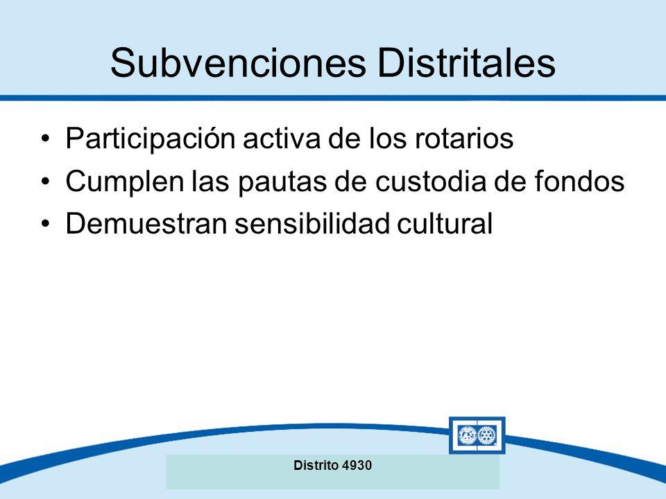 Subvenciones Distritales Participación activa de los rotarios Cumplen las pautas de custodia de fondos Demuestran sensibilidad cultural Distrito 4930