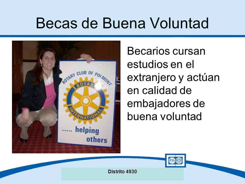 Seminario de La Fundación Rotaria del Distrito XXXX Becas de Buena Voluntad Duración: Un año académico Monto fijo: US$27.000 del FDD Distrito 4930