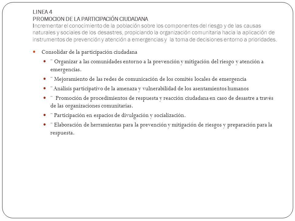 LINEA 4 PROMOCION DE LA PARTICIPACIÓN CIUDADANA Incrementar el conocimiento de la población sobre los componentes del riesgo y de las causas naturales