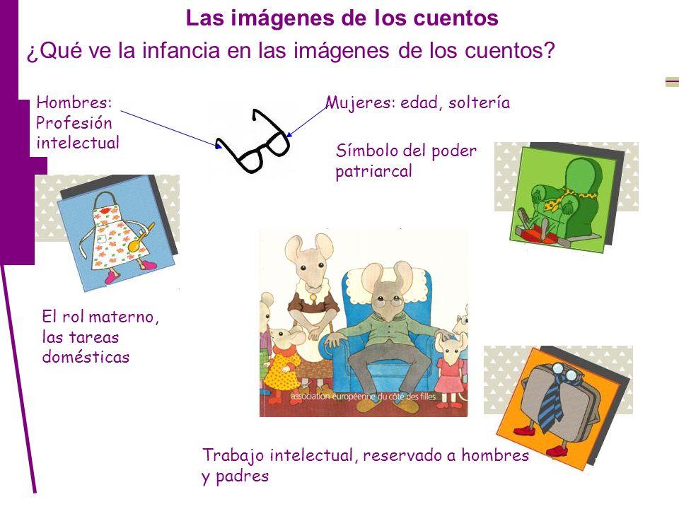 Las imágenes de los cuentos ¿Qué ve la infancia en las imágenes de los cuentos? El rol materno, las tareas domésticas Trabajo intelectual, reservado a